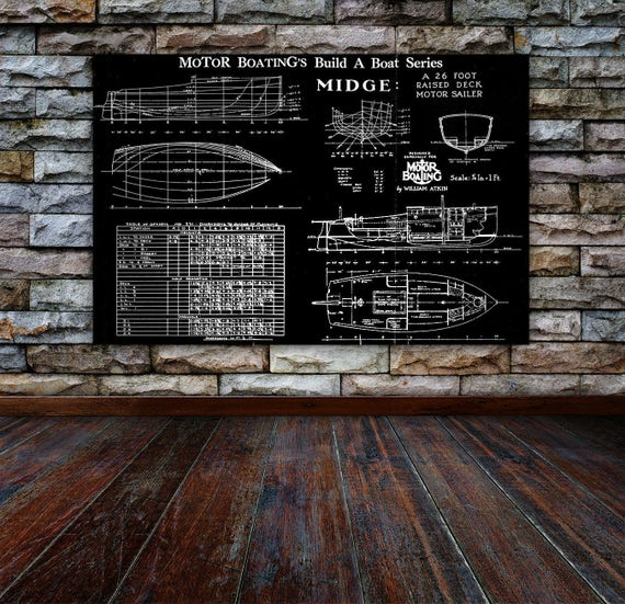Print of Vintage MIDGE Boat Blueprint from Motor Boating's Build a Boat Series on Your Choice of Matte Paper, Photo Paper, or Canvas