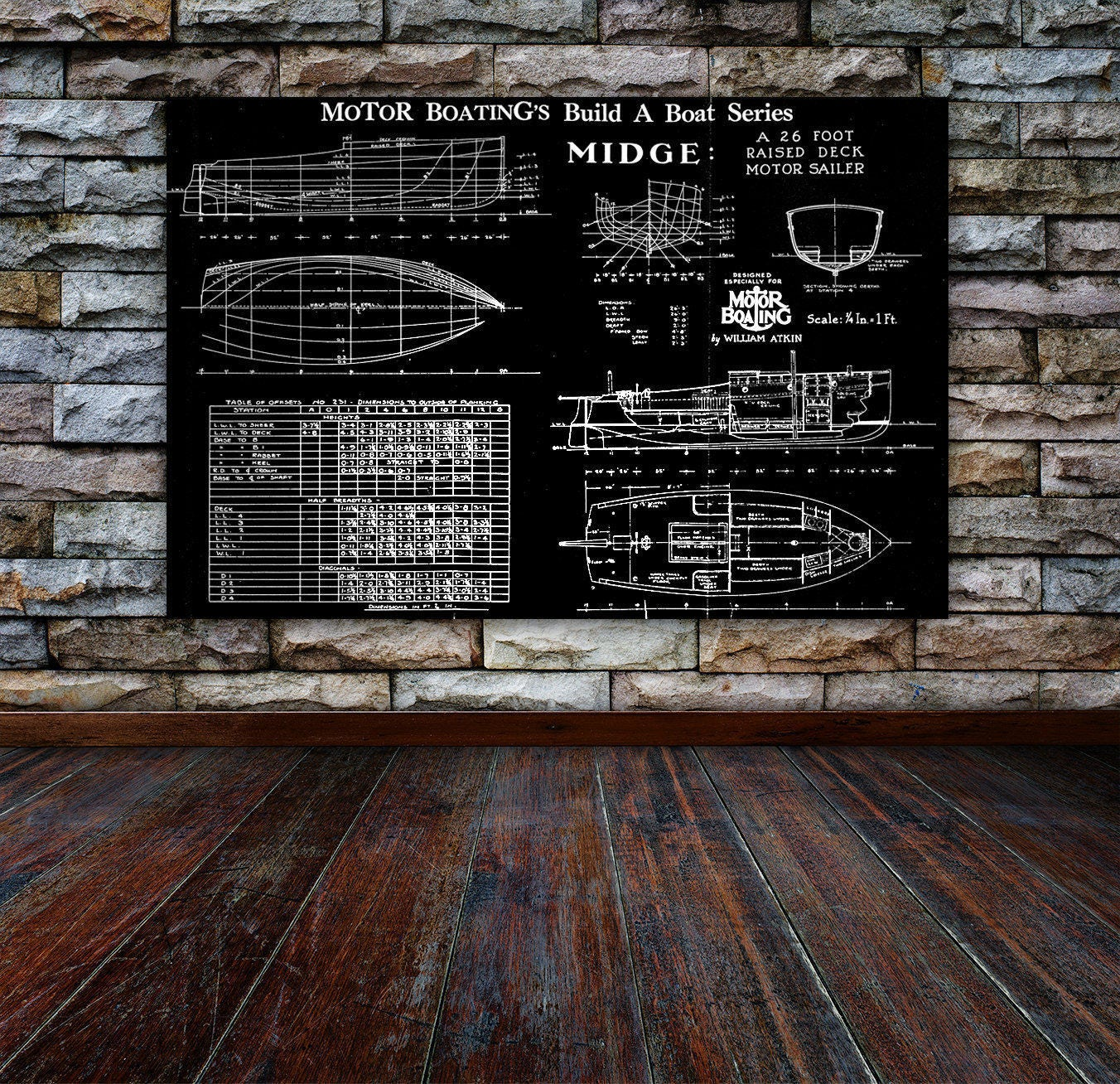 Print of vintage midge boat blueprint from motor boatings build a print of vintage midge boat blueprint from motor boatings build a boat series on your choice of matte paper photo paper or canvas malvernweather Image collections