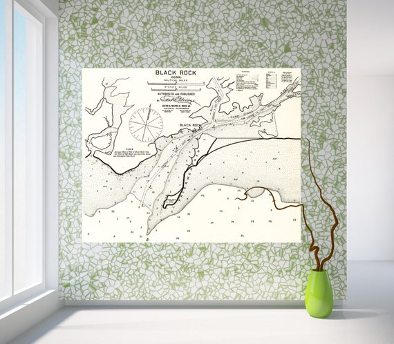 Antique Print of a Black Rock, Connecticut Nautical Chart on your choice of Photo Paper, Matte Paper or Canvas Giclee