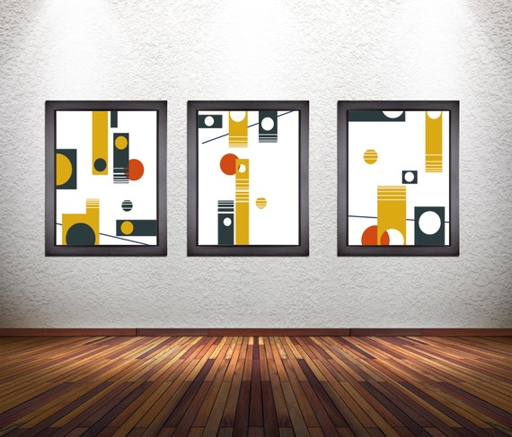 Set of 3 Colorful Modern Abstract Art Prints on Premium Photo Paper, Heavy 300 GSM Matte Paper, or Stretched Canvas
