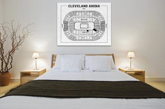 Vintage Print of Cleveland Arena Seating Chart on Premium Photo Luster Paper Heavy Matte Paper, or Stretched Canvas. Free Shipping!