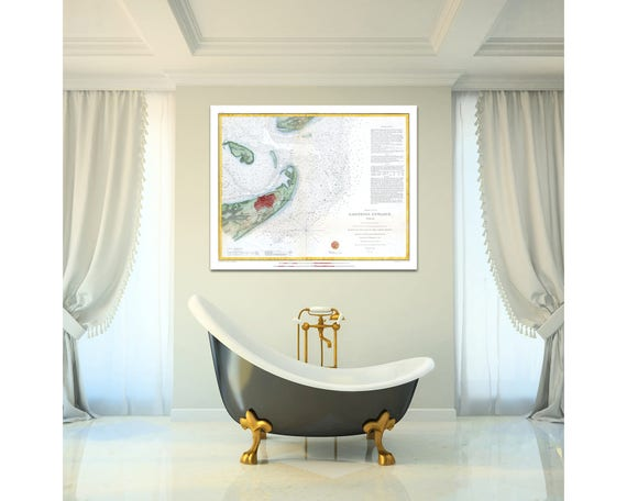 Print of Antique Map of Galveston Texas on Matte Paper, Photo Paper, or Stretched Canvas. Free Shipping!