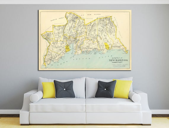 Print of Antique Map of New Haven County, Connecticut on Photo Paper, Matte Paper or Stretched Canvas