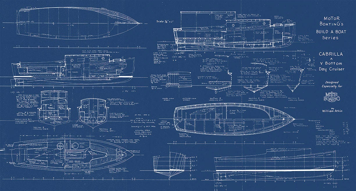 Print of vintage cabrilla boat blueprint from motor boatings build print of vintage cabrilla boat blueprint from motor boatings build a boat series on your choice of matte paper photo paper or canvas malvernweather Gallery
