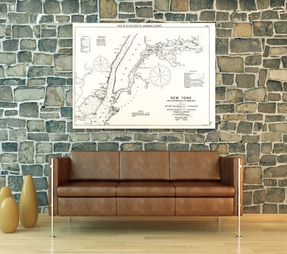 Antique Print of a New York City Map on your choice of Photo Paper, Matte Paper or Canvas Giclee