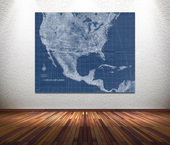 Vintage Antique Print of Delta Airlines Systems Route Map on Photo Paper Matte Paper Canvas Giclee