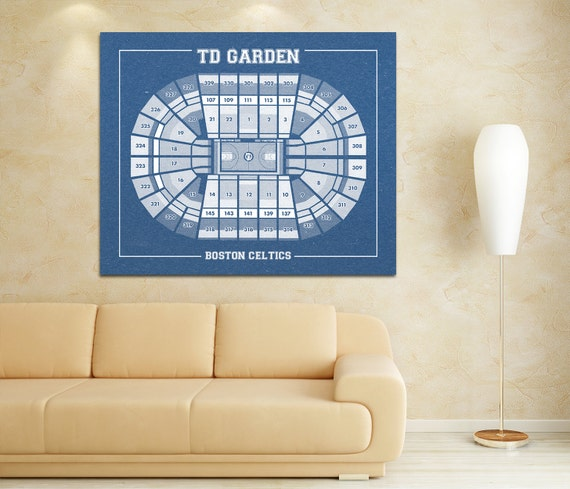 Vintage Print of TD Garden Seating Chart on Premium Photo Luster Paper Heavy Matte Paper, or Stretched Canvas. Free Shipping!