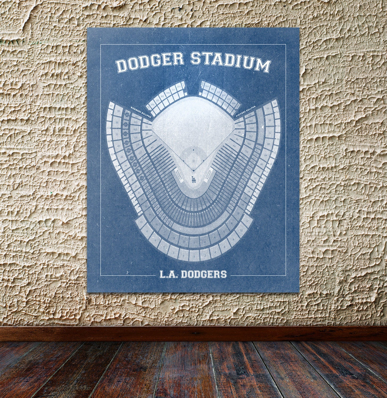 Print Of Vintage Los Angeles Dodger Stadium Seating Chart
