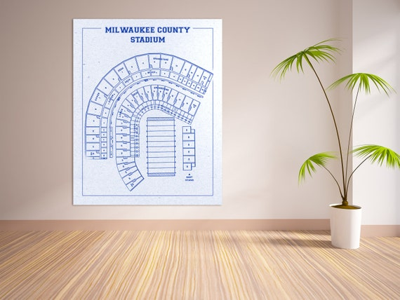 Print of Vintage Milwaukee County Field Seating Chart Seating Chart on Photo Paper, Matte paper or Canvas