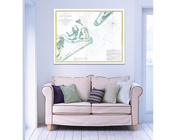 Antique vintage Texas San Luis Pass Paper, Matte or Canvas Wall Art Decor ca California nautical chart island 1800s