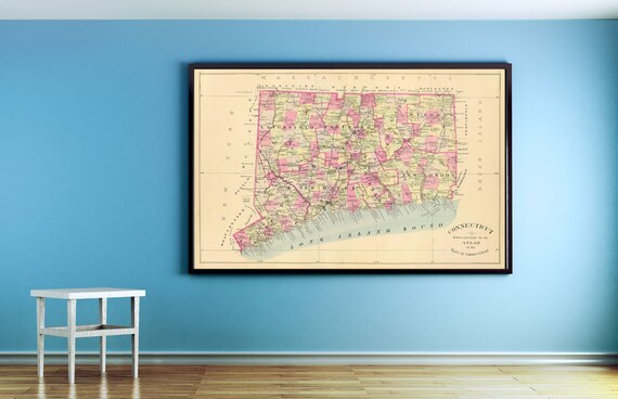 Print of Antique Connecticut Map on Photo Paper, Matte Paper or Stretched Canvas