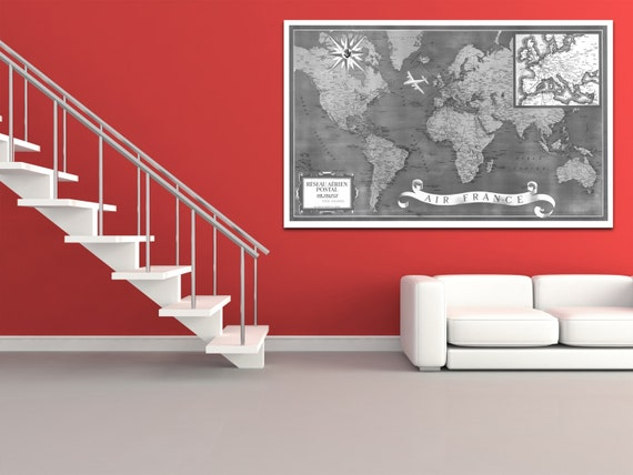 Vintage Antique Postal Air France World Map Airline Plane on photo paper Matte paper Canvas Art Home Decor Giclee Print