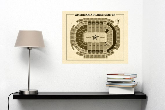 Vintage Dallas Stars American Airlines Center Diagram on Photo Paper Matte paper or Canvas Sports Stadium Art Home Decor Line Drawing