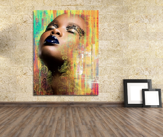 Original Print of Mixed Media Collage Featuring Beautiful Female Depiction. Available on Canvas, Photo Paper, or Matte Paper in Many Sizes.