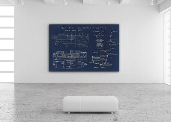 Print of Vintage CONTENT Boat Blueprint from Motor Boating's Build a Boat Series on Your Choice of Matte Paper, Photo Paper, or Canvas