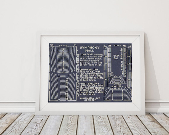 Print of Vintage Symphony Hall Seating Chart on Premium Photo Luster Paper, Heavy Matte Paper, or Stretched Canvas