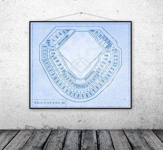 Print of Vintage Tiger Stadium Stadium Seating Chart on Photo Paper, Matte paper or Canvas