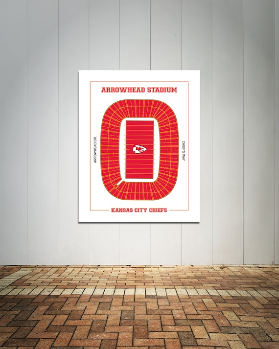 Print of Vintage Arrowhead Stadium Seating Chart Seating Chart on Photo Paper, Matte paper or Canvas