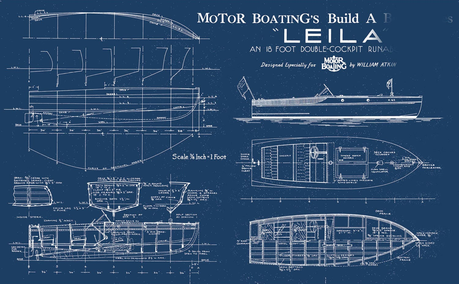 Print of vintage leila boat blueprint from motor boatings build a print of vintage leila boat blueprint from motor boatings build a boat series on your choice of matte paper photo paper or canvas malvernweather Gallery