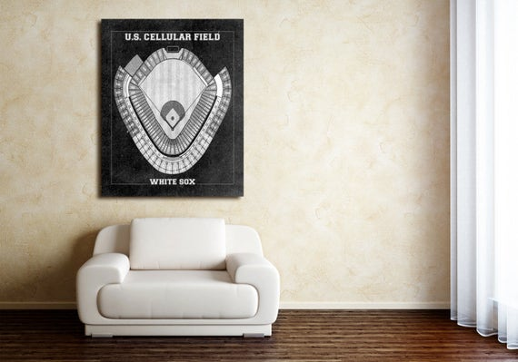 Vintage Print of U.S. Cellular Field Seating Chart Chicago White Sox Baseball Blueprint on Photo Paper, Matte Paper or Stretched Canvas