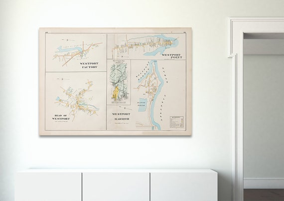 Print of Antique Map of Westport Point and Head Harbor Massachusetts Featuring Pottersville on Photo Paper, Matte Paper and Stretched Canvas
