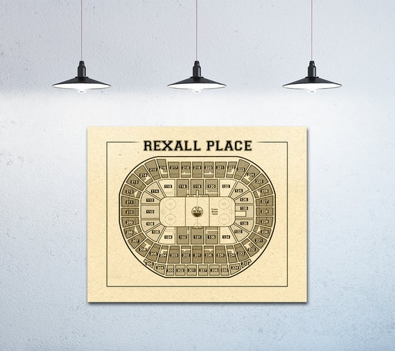 Vintage Edmonton Oilers Rexall Center on Photo Paper, Matte paper or Canvas Sports Stadium Tickets Art Home Decor Line Drawing