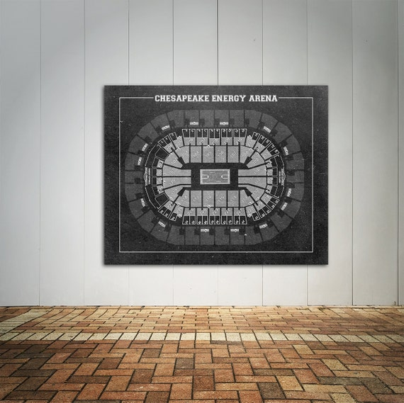 Vintage Print of Chesapeake Energy Arena Seating Chart on Premium Photo Luster Paper Heavy Matte Paper, or Stretched Canvas. Free Shipping!