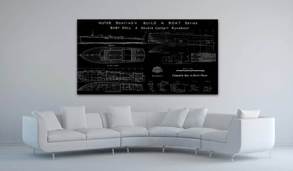 Print of Vintage BABY DOLL Boat Blueprint from Motor Boating's Build a Boat Series on Your Choice of Matte Paper, Photo Paper, or Canvas