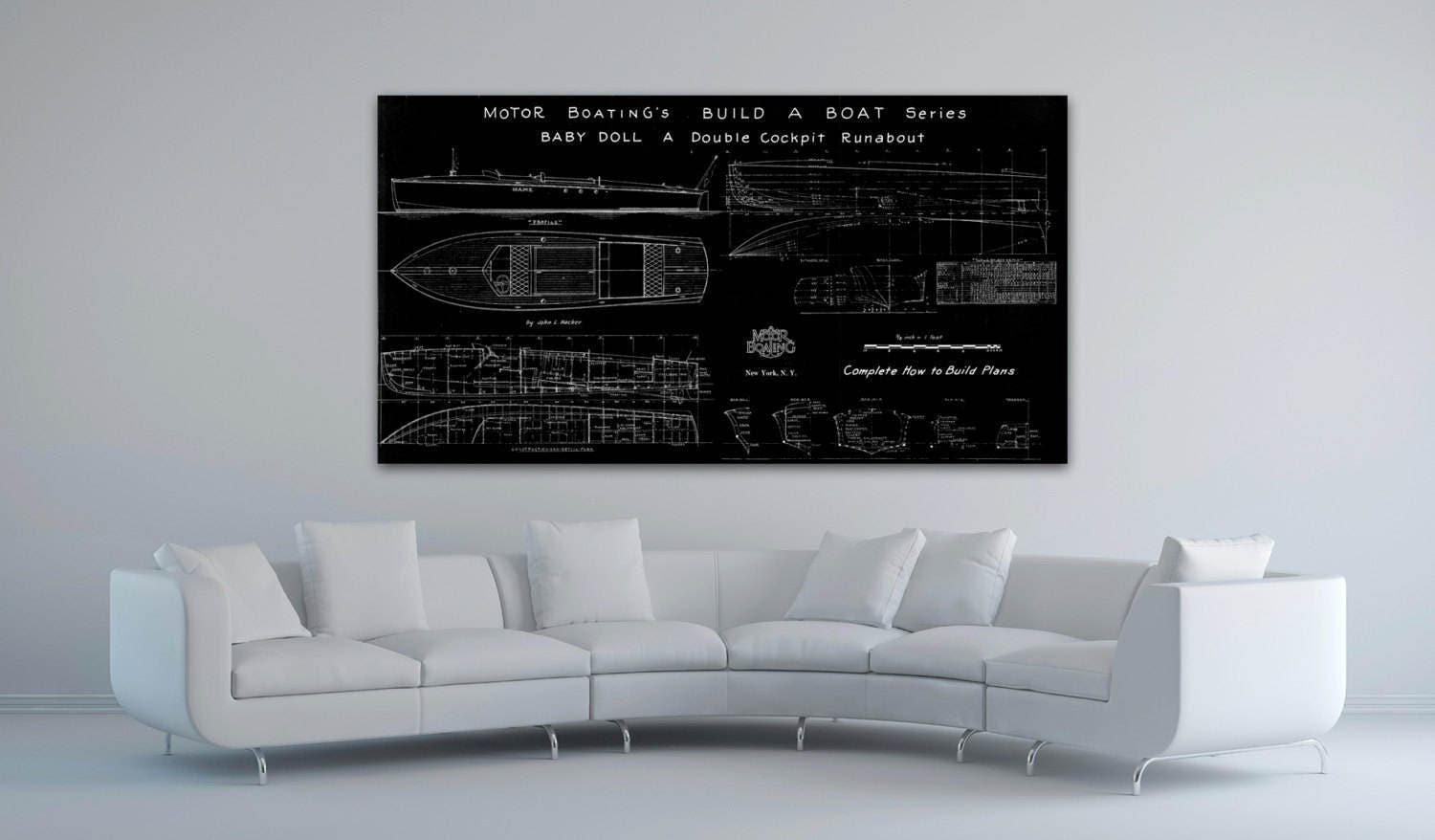 Print of vintage baby doll boat blueprint from motor boatings build print of vintage baby doll boat blueprint from motor boatings build a boat series on your choice of matte paper photo paper or canvas malvernweather Image collections