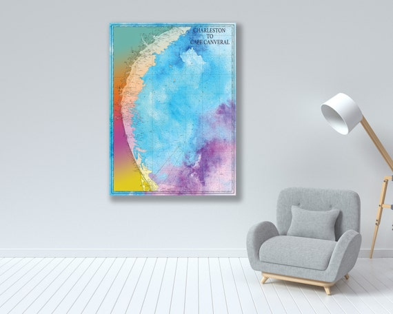 Artistic Print of Charleston to Cape Canaveral Chart on your choice of Photo Paper, Matte Paper or Canvas Giclee