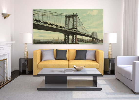 Print of Vintage Style New Manhattan Bridge, New York, on Photo Paper, Matte Paper, or Stretched Canvas