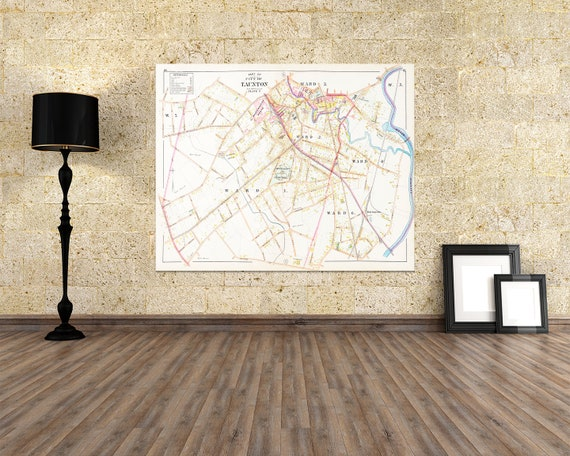Print of Antique Street Map of Parts of Taunton Massachusetts on Photo Paper, Matte Paper and Stretched Canvas