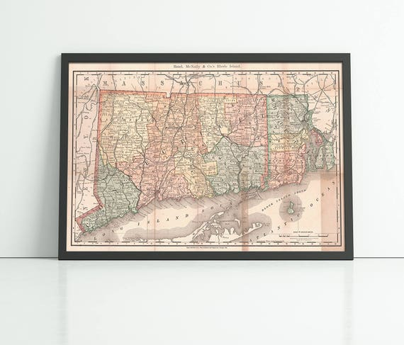 Print of Antique Map of Rhode Island and Connecticut on Photo Paper Matte Paper or Stretched Canvas