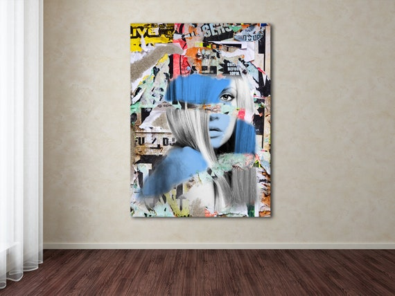 Print of mixed media abstract collage painting with female face and textures on canvas photo paper or matte paper, free shipping!