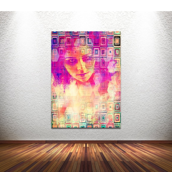 Original Print of Pop Art Collage Featuring Female Figure with Pattern. Printed on Canvas, Photo Paper, or Matte Paper in Many Sizes.