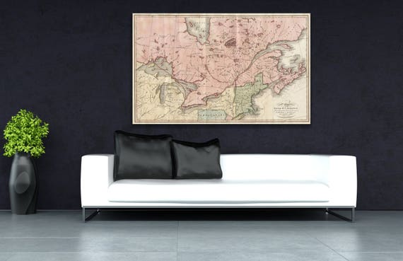 Print of Antique Map of St. Lawrence River, Canada and New England on Photo Paper Matte Paper or Stretched Canvas