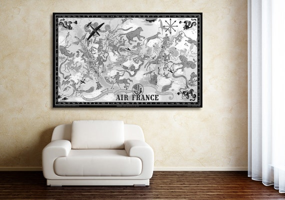 Vintage Antique Air France World Map Celestial Planisphere with Zodiac Symbols on photo paper Matte paper Canvas Art Home Decor Giclee Print