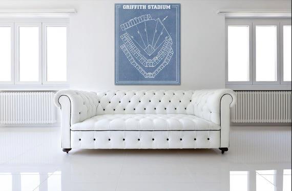 Vintage Print of Griffith Stadium Seating Chart Washington Senators Baseball Blueprint on Photo Paper, Matte Paper or Stretched Canvas