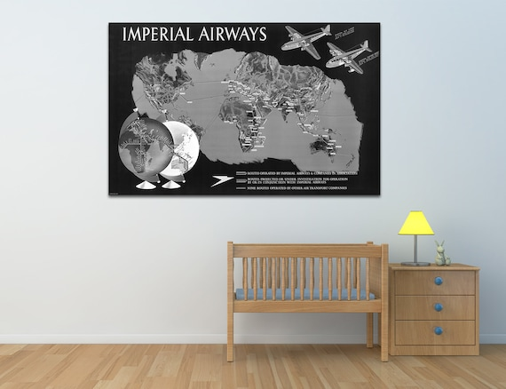 Vintage Antique Imperial Airways Print on Photo Paper Matte Paper Canvas Art Giclee Print