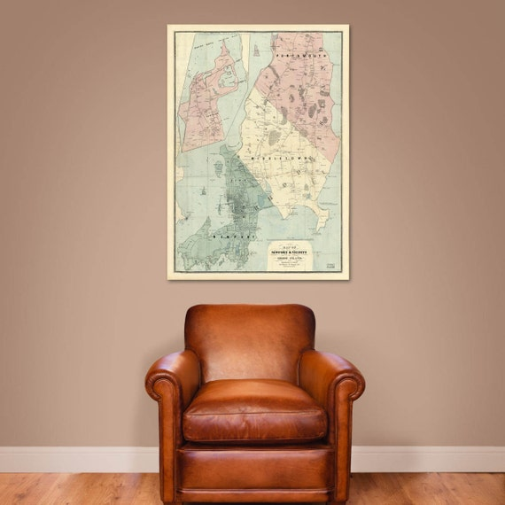 Print of Antique Map of Newport and Vicinity, Rhode Island a on Photo Paper, Matte Paper or Canvas