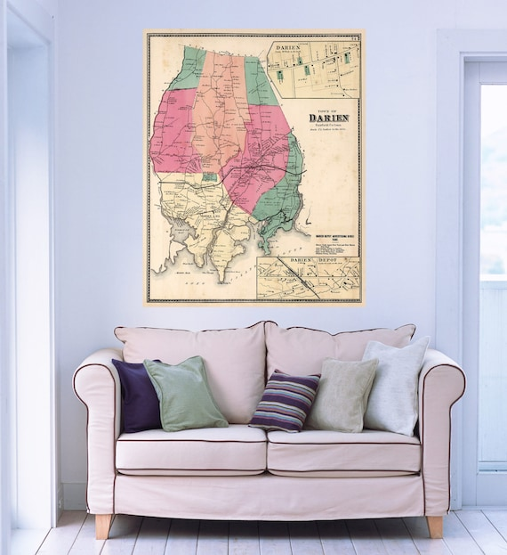 Print of Antique Map of Darien, Connecticut on Matte Paper, Photo Paper, or Stretched Canvas. Free Shipping!