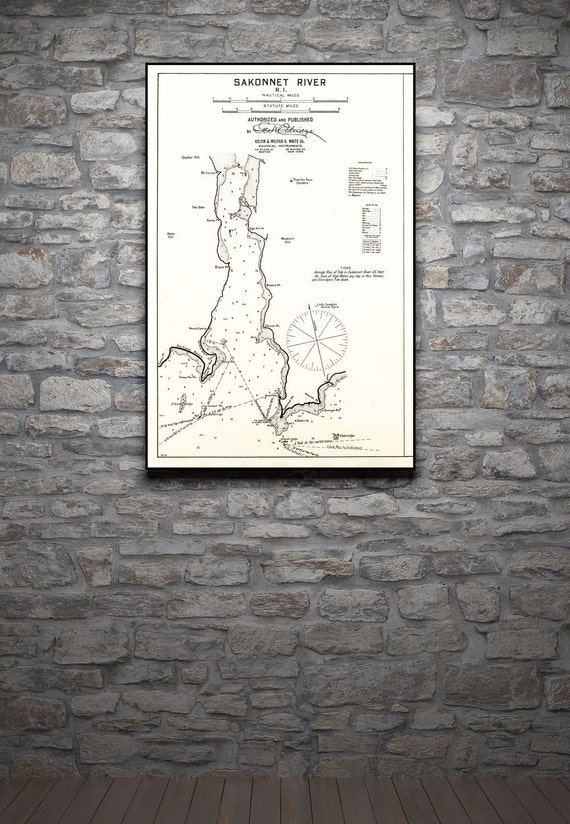 Antique Print of a Nautical Chart of Sakonnet River, Rhode Island on your choice of Photo Paper, Matte Paper or Canvas Giclee