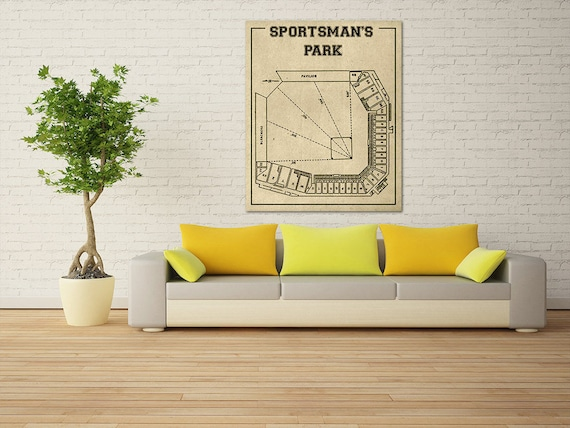 Vintage Print of Sportsman's Park Seating Chart St. Louis Cardinals Baseball Blueprint on Photo Paper, Matte Paper or Stretched Canvas