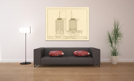 Print of Vintage Capitol Records Building Blueprint on Your Choice of Photo Paper, Matter Paper, or Stretched Canvas
