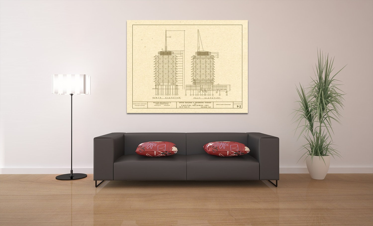 Print of vintage capitol records building blueprint on your choice print of vintage capitol records building blueprint on your choice of photo paper matter paper or stretched canvas malvernweather Image collections