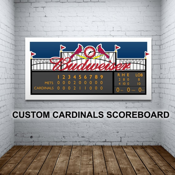Print of Busch Stadium Scoreboard in St. Louis. Fully customizable, it's Perfect for first games, birthdays, anniversaries, and more.