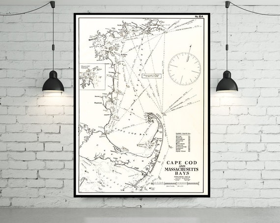 Antique Print of Cape Cod & Massachusetts Bays; New England Map on your choice of Photo Paper, Matte Paper or Canvas Giclee