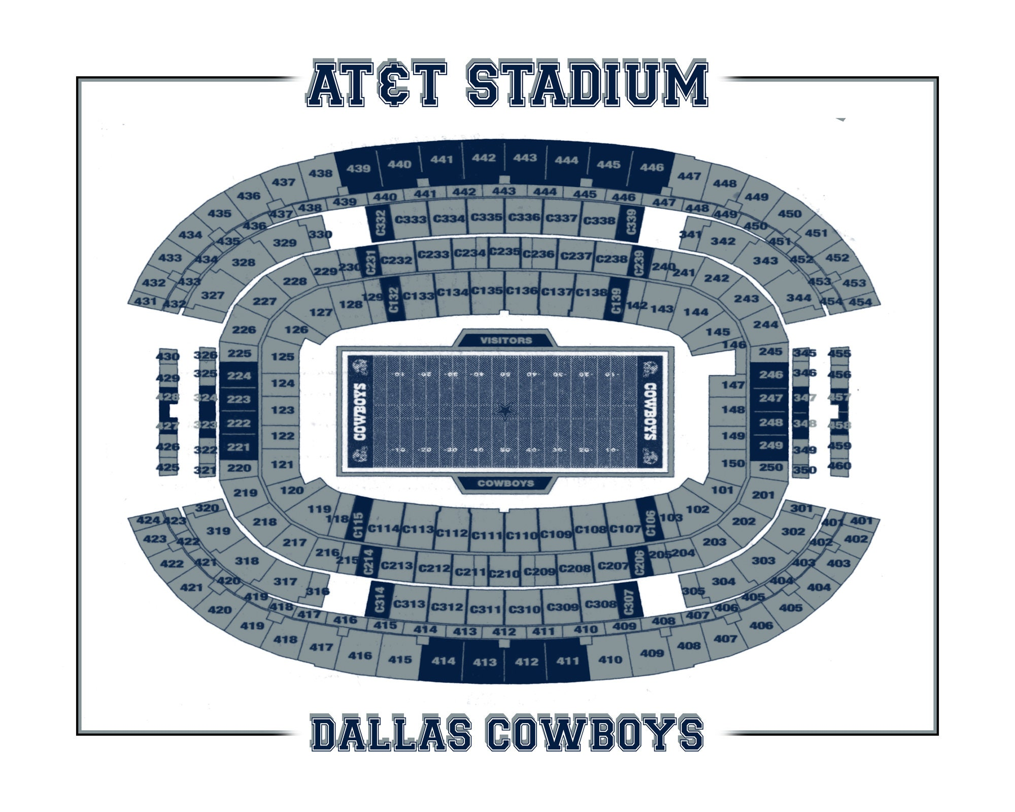 Vintage Print of NEW AT&T Stadium Seating Chart on Photo ...