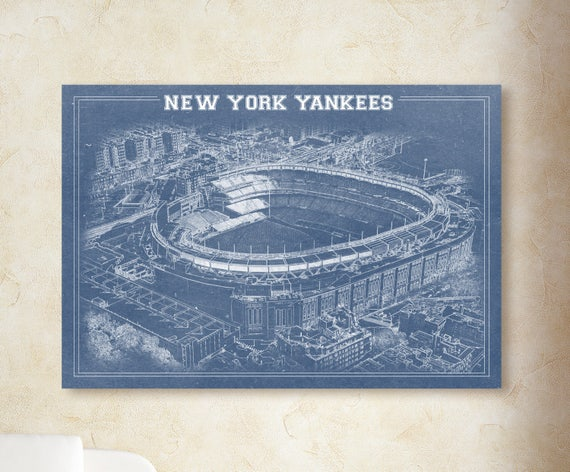 New York NY Yankees Baseball Stadium Drawing Art Print on Paper or Canvas, Fathers Day, Baby Nursery, sign, mlb, Man Cave, Wall decor