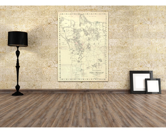 Vintage NY New York Town Huntington Street Highway Map Suffolk County on Paper or canvas, antique, gift for dad, chart, road map
